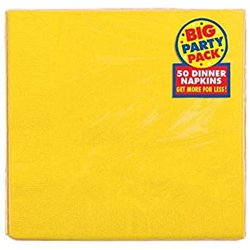 "Amscan Durable Big Sunshine Dinner Paper Napkins Party Supply (50 Pack), 7-3/4 x 7-3/4"", Yellow"