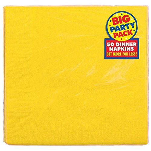 Dinner Paper Napkins Party Supply, 50 Pieces, Made from Paper, Yellow Sunshine by Amscan (Paper Napkin Yellow)