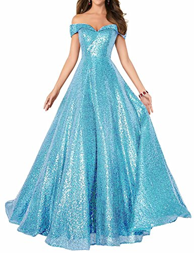 Off Shoulder A Line Long Evening Dress Sequins Homecoming Dresses for Women Prom Party Gown Empire Waist Bridesmaid Gown VKP47 Blue Size 4 -
