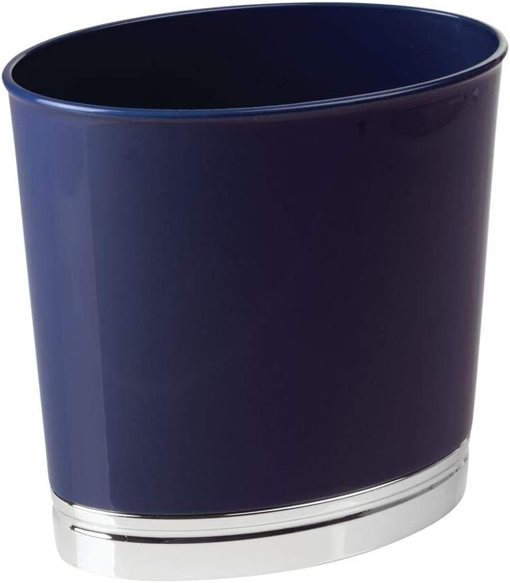 mDesign Oval Slim Decorative Plastic Small Trash Can Wastebasket, Garbage Container Bin for Bathrooms, Kitchens, Home Offices, Dorm Rooms - Navy Blue/Chrome