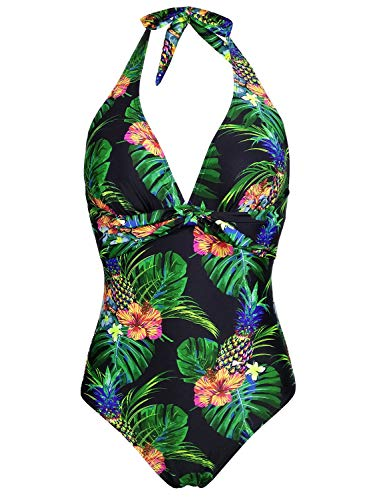 (Balasami Women's Halter V Neck Tropical Lemon Polka Dots Printed Vintage One Piece Bow Tie High Leg Swimsuits)