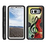TurtleArmor | Samsung Galaxy S8 Active Case | G892 [Clip Caliber] High Impact Shockproof Silicone Armor Case Stand Belt Clip Holster Music Design - Music Symbol Note