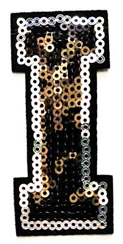 (Black Sequins Letter Iron-on Patch Appliqué Sewing Alphabet Letter (A-Z) (I))