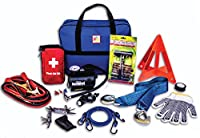 First Secure 90 Piece Roadside Emergency Car and Truck Kit with Safety Tools & Accessories Bag: Jumper Cables for Battery•Auto Air Compressor•First Aid•Tow Rope•Triangle•Flashlight