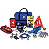 First Secure 90 Piece Roadside Emergency Car and Truck Kit with Safety Tools & Accessories Bag: Jumper Cables for Battery•Auto Air Compressor•First Aid•Tow Rope•Triangle•Flashlight•Survival Assistance