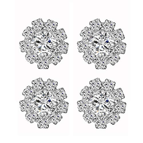 Wholesale 24PCS 16MM Clear Flatback Rhinestone Buttons Metal Crystal Glass Button Embellishments