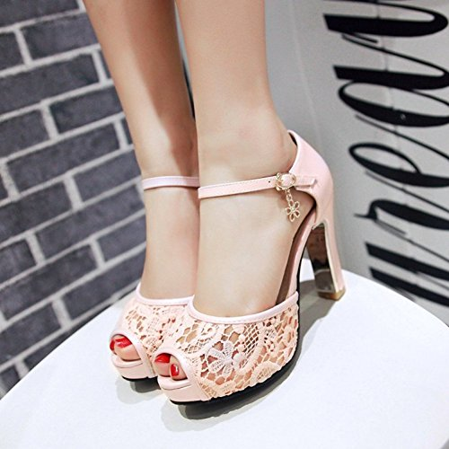 efc96498379d Summerwhisper Women s Elegant Peep Toe Platform Sandals Chunky High Heel  Shoes Lace Sandals on sale