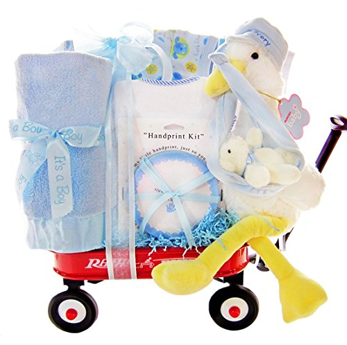 Stork Delivery Baby Boy Gift Set in a Miniature Radio Flyer Wagon by Gifts to Impress