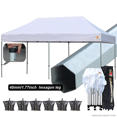 AbcCanopy PRO 10 X 20 Ez Pop up Canopy Tent Commercial Instant Gazebos with Roller Bag and 6x Weight Bag (Commercial Duty Canopy)