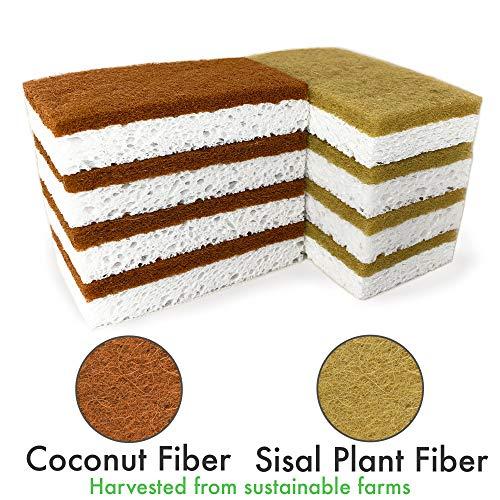 McDILS Eco sponges 2 Types Natural Plant Based Scrub Sponge 8 Pack Palm Fiber Scrubbing Sponge with Non Scratch Compostable Sponges Durable No Odor Kitchen Scrubber Eco Friendly Kitchen sponges