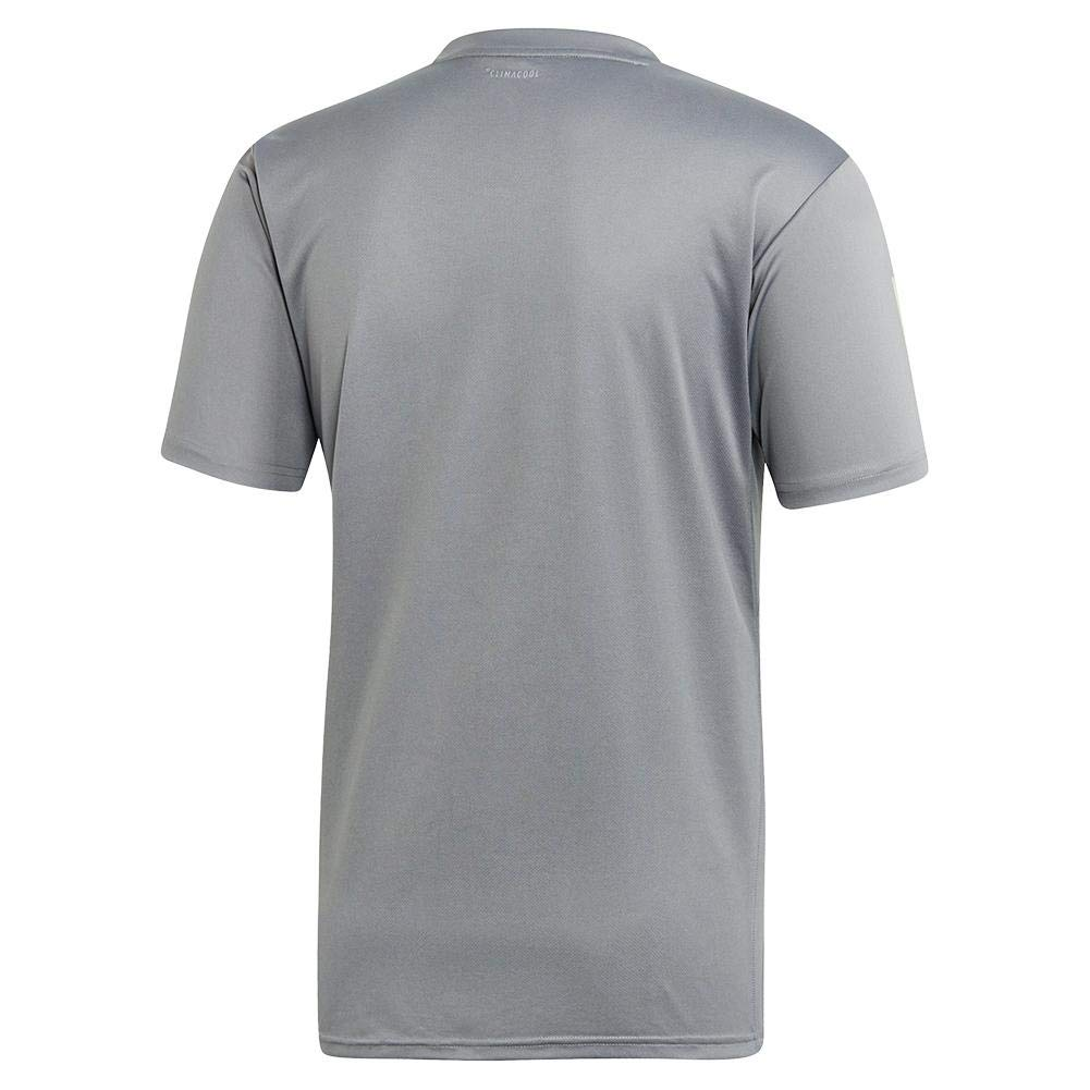 adidas Men's 3-Stripes Club Tennis Tee, Grey/Glow Green, Small by adidas (Image #2)