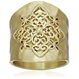 Gold-Tone Filigree Hammered Ring, Size 8
