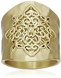 Gold-Tone Filigree Hammered Ring