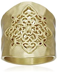 Gold-Tone Filigree Hammered Ring