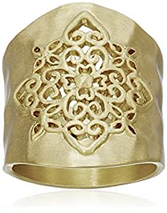 Gold-Tone Filigree Hammered Ring, Size 6