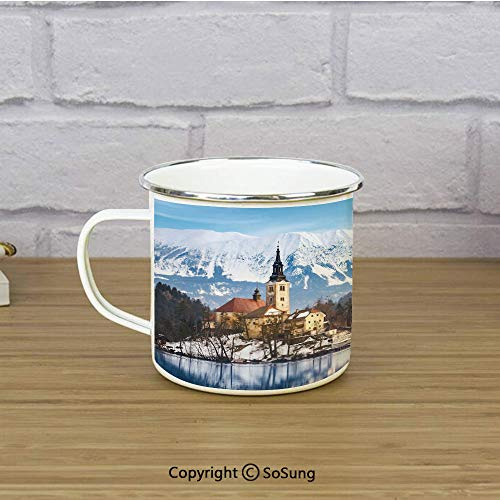 Winter Enamel Coffee Mug,Lake Bled in Slovenia Scenes from Europe Travel Destination Ancient Places Photo Decorative,11 oz Practical Cup for Kitchen, Campfire, Home, Travel