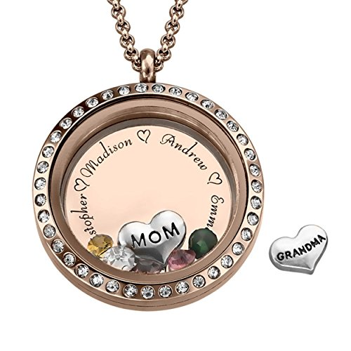 MyNameNecklace Floating Charms Engraved Locket - for Mom or Grandma Personalized with CZ Birthstones - Mothers Day