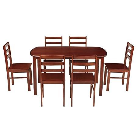 Woodness 28044 6 Seater Dining Table Set (Matte Finish, Mahogany)