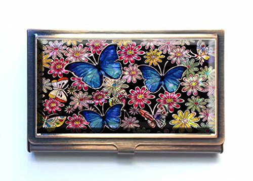 Supremecom Personalise Custom Design Metal Bronze Stainless Steel Business Card Credit Name ID Card Holder Case Organizer (Art Blue Butterfly-1)