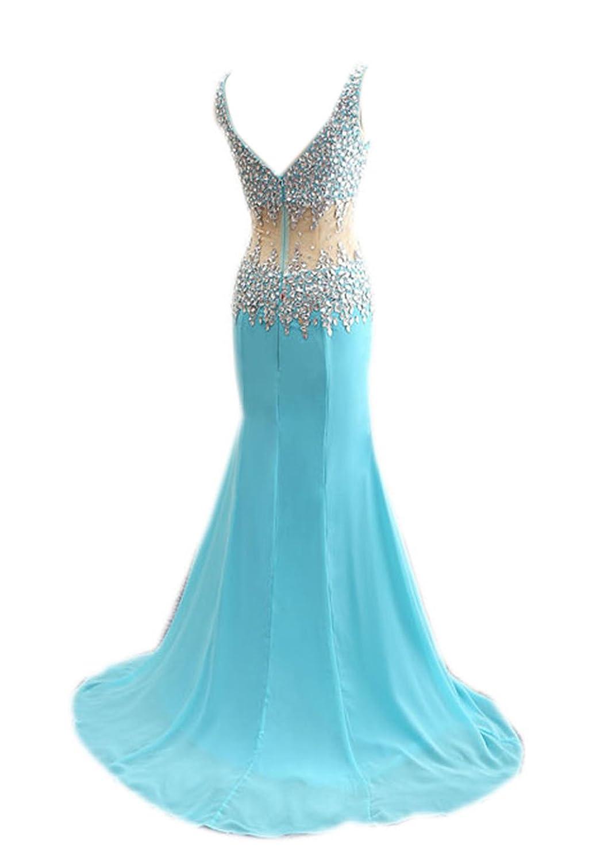 AngelDragon V-Neck Straps Rhinestones Illusion Long Chiffon Prom Dresses