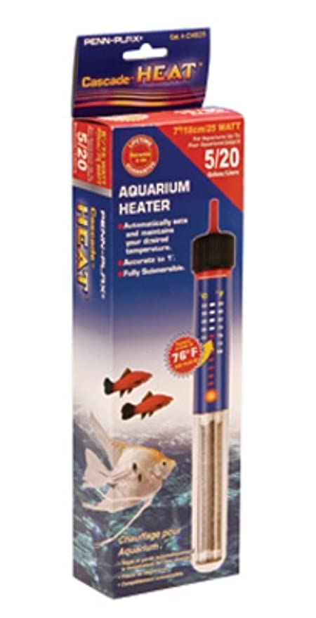 5 Gallon Aquarium Heater 25 Watt Fully Submersible Fresh & Salt Water Fish Tank Warmer With