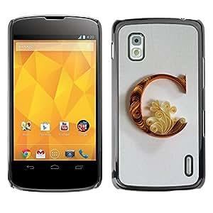 Be Good Phone Accessory // Dura Cáscara cubierta Protectora Caso Carcasa Funda de Protección para LG Google Nexus 4 E960 // C Caligraphy Petal Floral Alphabet