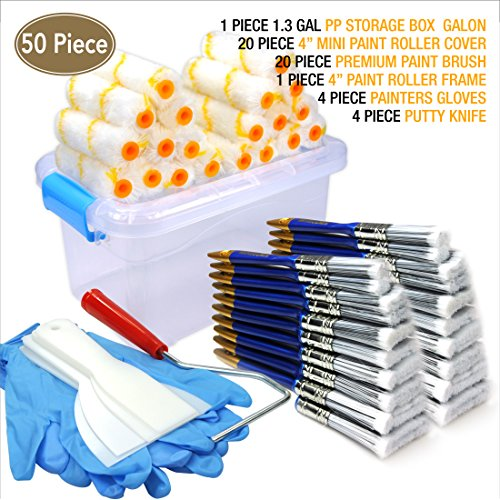 - 50 Piece Painters Multi use,Home Tool kit,Mini Paint Roller Covers,Paint Roller,Paint Brush,Paint Roller Frame,Home Repair Tools,Tools,Tool kit,Tool case,Home Tool kit,Tool Storage,Tool Box