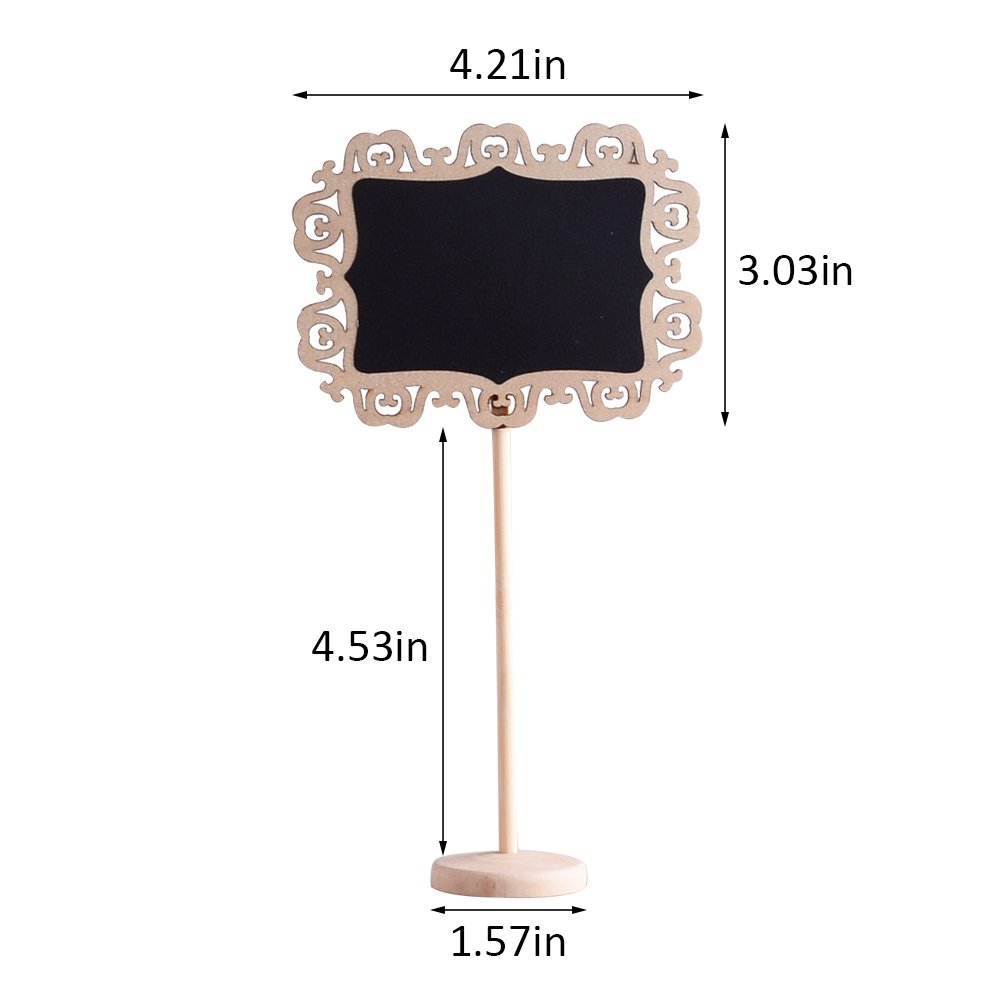 Message Board Signs and Decorating Parties AUSTOR 14 PCS Mini Decorative Boarder Chalkboard Signs with Stand Black Board for Weddings Place Cards