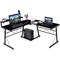 Black Modern Computer Desk L Shaped Glass Office Executive Writing Furniture Overall dimension: 58.6x 58.6 x 37.8(L x W x H)