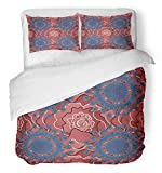 Emvency 3 Piece Duvet Cover Set Brushed Microfiber Fabric Breathable Colorful with Natural Mandala Flat Lay Zen Yoga Meditation Still Life Bohemian Bedding Set with 2 Pillow Covers Full/Queen Size