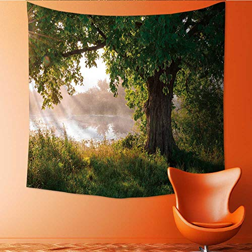 UHOO2018 Wall Hanging Tapestries Forest Tree Oak Landscape Foggy Scene and Stream View Accessories Green BrownWhite Large tablecloths 47W x 47L Inch