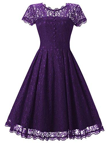 (Tecrio Women Elegant Vintage Floral Lace Capshoulder Cocktail Party Swing Dress (Medium,)
