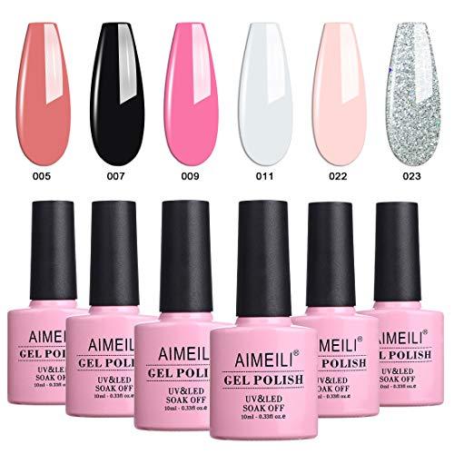 AIMEILI Gel Nail Polish Soak Off UV LED Gel Nail Lacquer Combo Color Set Of 6pcs X 10ml - Kit Set 1