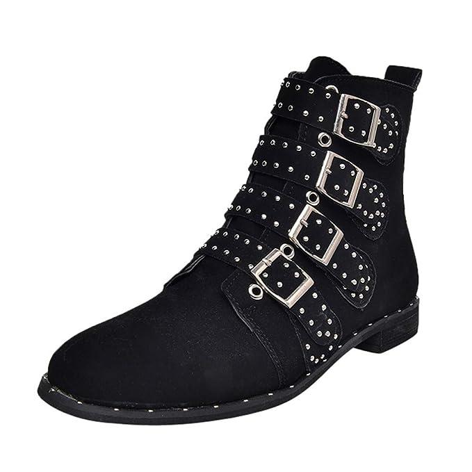 Mymyguoe Botines Cortos para Mujer Botines Invierno Zapatos Botas de Plano Antideslizante Boots Botines de Ante