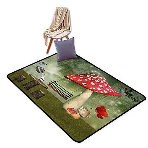 Shaw Garden Rug - Kids Rug,Mushroom Picnic in Fantasy Garden,Super Absorbs Mud,4'11