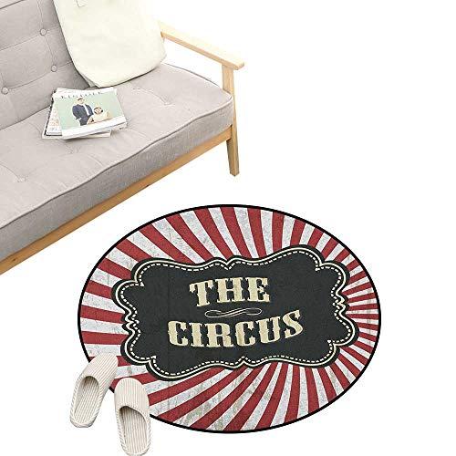 Circus Round Area Rug Super Soft Anti-Slip ,Classical Circus Show Event Advertisement Theme Antique Art Logotype Print, Children Girls Room Decorato 31
