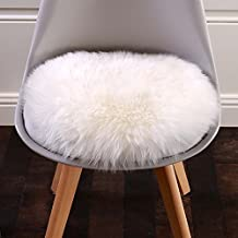 "Cuteshower Round Faux Fur Sheepskin Rugs Soft Plush seat cushion For Chair Living & Bedroom Sofa White 19.7"" x 19.7"""