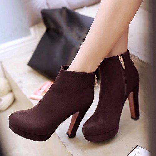 AIYOUMEI Damen Blockabsatz Schuhe Winter Stiefeletten mit Plateau High Heels Ankle Boots Braun