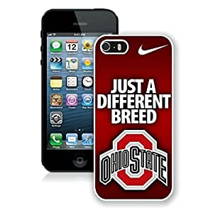 Ncaa Big Ten Conference Football Ohio State Buckeyes(8) White Case For Iphone 5/5S Cover Genuine Custom Cover