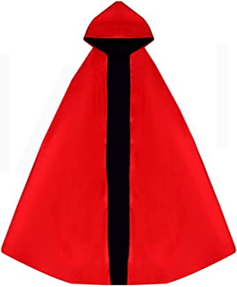 Details about  /viviwo Hooded Cloak Capes Double Face Red Black Reversible Dress up Vampires Wit
