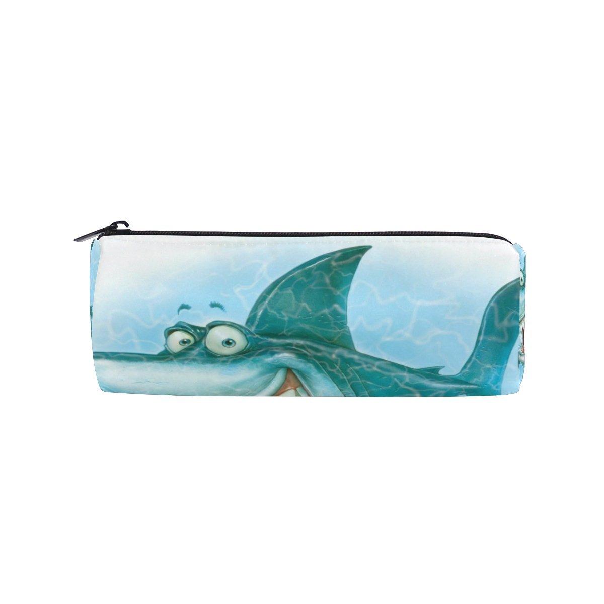 Pencil Pouch Animation Sharks Zipit Cute Pencil Cases School Pen Organizer Holder Womens Makeup Bag