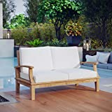LexMod Marina Outdoor Patio Teak Loveseat, Natural White