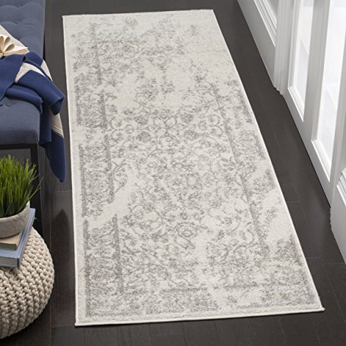Safavieh Adirondack Collection ADR101B Ivory and Silver Oriental Vintage Distressed Runner (2'6