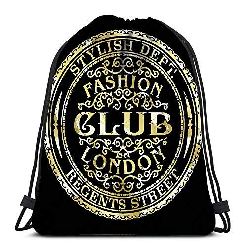 Gym Drawstring Backpack Sport Bag Regents Street London Fashion Club Vintage Gold Foil Woman Wear Grunge Lightweight Shoulder Bags Travel College Rucksack for Women Men