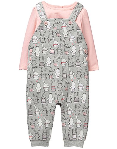 Gymboree Baby Girl Overall Set, Cotton Tail Grey, 0-3 Mo