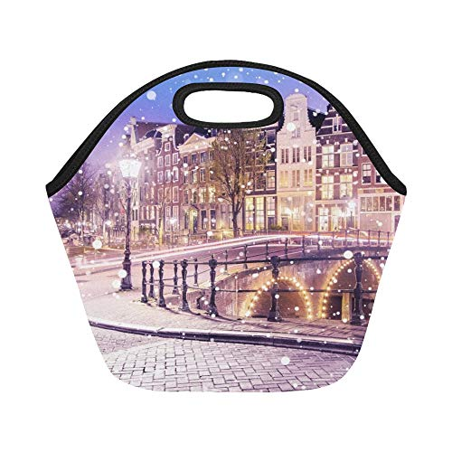 (Insulated Neoprene Lunch Bag Traditional Dutch Old Houses Bridges On Large Size Reusable Thermal Thick Lunch Tote Bags For Lunch Boxes For Outdoors,work, Office,)
