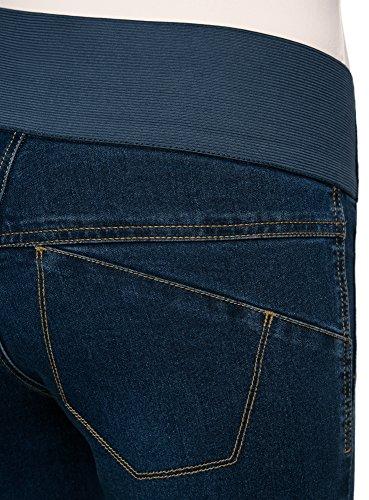 oodji Collection Mujer Vaqueros Leggings de Tiro Alto con Cintura Elástica Azul (7500W)