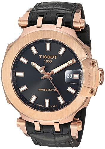 Tissot Men's T-Race Stainless Steel Swiss Automatic Sport Watch with Rubber Strap, Black, 22 (Model: T1154073705100)