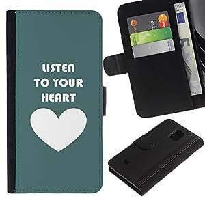 KingStore / Leather Etui en cuir / Samsung Galaxy S5 Mini, SM-G800 / Cita del amor de motivación Teal blanco