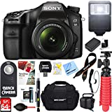Sony ILCA68K/B a68 A-Mount 24.2MP Digital Camera with 18-55mm Zoom Lens (Black) + 64GB Deluxe Accessory Bundle (18-55mm Zoom Lens Deluxe Kit)